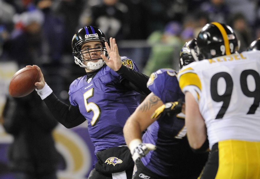 Baltimore Ravens quarterback Joe Flacco (5) throws a pass against the Pittsburgh Steelers during the first half of an NFL football game, Sunday, Dec. 5, 2010, in Baltimore. (AP Photo/Nick Wass)