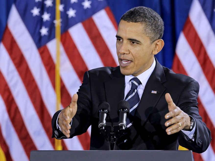 President Obama speaks Monday during a visit to Forsyth Technical Community College in Winston-Salem, N.C. (Associated Press)