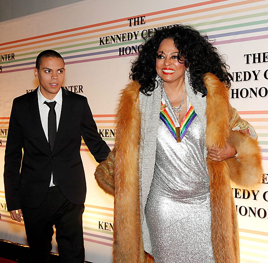 Diana Ross and her son Evan Ross walk the red carpet at the Kennedy Center Honors in Washington on Sunday, Dec. 5, 2010. Miss Ross was an honoree in 2007. (AP Photo/Jacquelyn Martin)