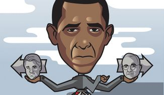 Illustration: Obama by Linas Garsys for The Washington Times