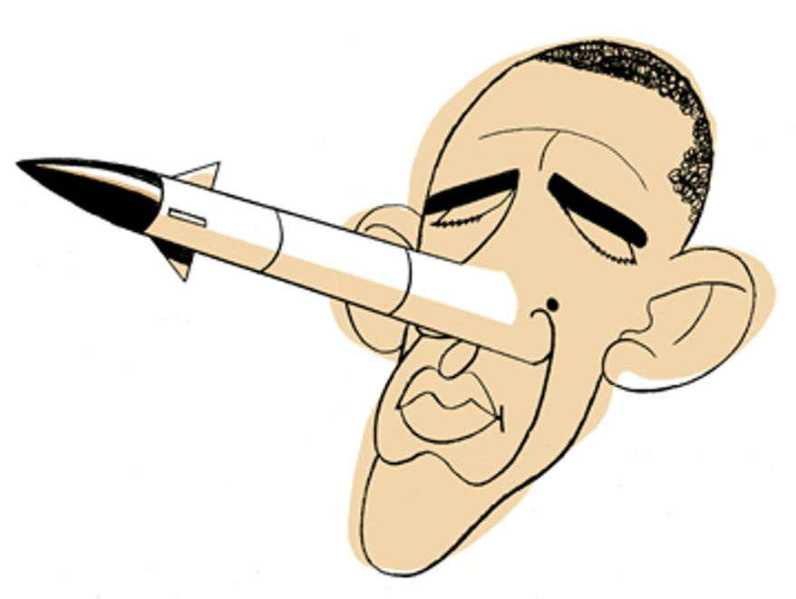 Illustration: Obama and START by Alexander Hunter for The Washington Times