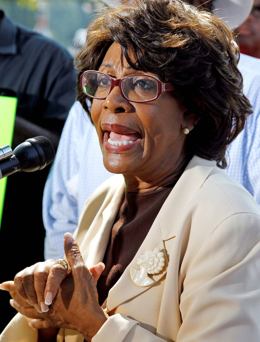 Rep. Maxine Waters took the floor of the House to ask Speaker Nancy Pelosi for an investigation into the ethics committee's decision to place two of its attorneys on administrative leave. (Associated Press)