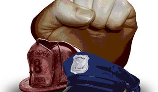 Illustration: Public safety unions by Greg Groesch for The Washington Times
