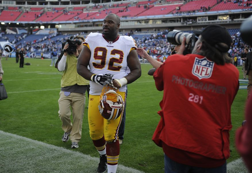 ** FILE ** Washington Redskins defensive tackle Albert Haynesworth (92) leaves the field after the Redskins beat the Tennessee Titans 19-16 in overtime during an NFL football game on Nov. 21, 2010, in Nashville, Tenn. (AP Photo/Joe Howell)