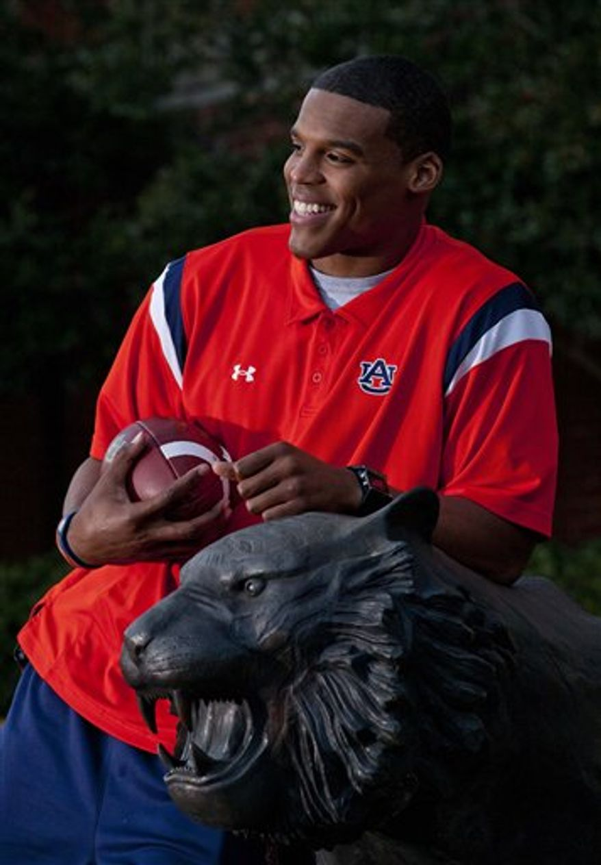 Auburn quarterback Cameron Newton is pictured at the university in Auburn, Ala., Tuesday, Dec. 7, 2010. Newton is a finalist for the Heisman Trophy which is awarded to the nation's top college football player each year. (AP Photo/Dave Martin)