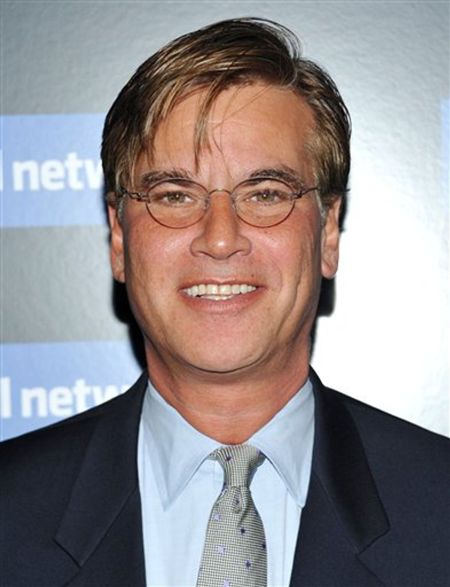 "FILE - In this Sept. 29, 2010 file photo, screenwriter Aaron Sorkin attends a special screening of ""The Social Network"" hosted by The Cinema Society in New York. (AP Photo/Evan Agostini)"