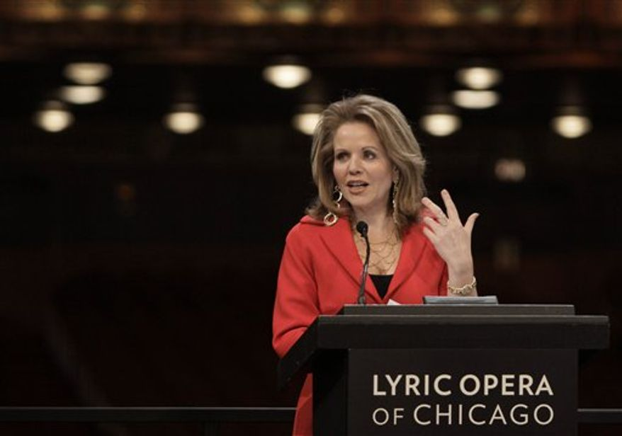 """World renowned soprano Renee Fleming speaks during a news conference after the Lyric Opera of Chicago announced her appointment as a vice president and creative consultant, Thursday, Dec. 9, 2010, in Chicago. Among Fleming's commitments to the Lyric will be a performance in a staged concert of Andre Previn's """"A Streetcar Named Desire"""" in spring 2013, reprising the Blanche DuBois role she created; an appearance in a production of Strauss' """"Capriccio"""" in autumn 2014; and the curation of a world premiere opera for the 2016 season. (AP Photo/M. Spencer Green)"""