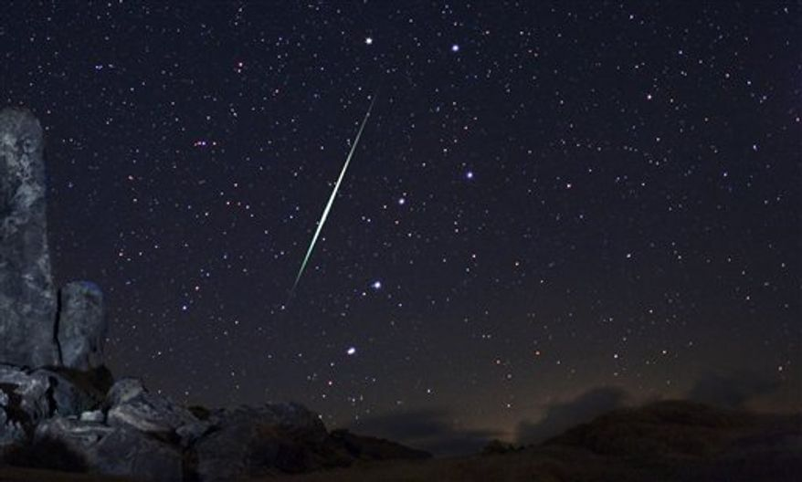 In this  picture provided by Wally Pacholka of AstroPics.com, a Geminid fireball explodes over the Mojave Desert in the Jojave Desert, Calif. on Dec. 13, 2009.   In mid-December 2010, the Geminid meteor shower will make its annual  appearance, just in time for Christmas. Astronomers consider it the best meteor shower of 2010, with more than 100 meteors streaking through the night sky every hour. (AP Photo/AstroPics.com, Wally Pacholka)    MANDATORY  CREDIT: ASTROPICS.COM, WALLY PACHOLKA; NO SALES; EDITORIAL USE ONLY IN  CONJUNCTION WITH THE 2010 GEMINID METEOR SHOWER STORIES