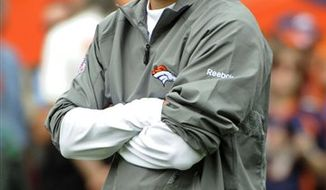 "FILE- In this Oct. 24, 2010, file photo, Denver Broncos head coach Josh McDaniels looks on prior to the start of an NFL football game against the Oakland Raiders in Denver. Broncos owner Pat Bowlen fired McDaniel this week with his team in its worst slide in four decades. ""I was not satisfied with the results and the direction this team was headed,"" Bowlen said. (AP Photo/Jack Dempsey, File)"