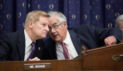 House Financial Services Committee Chairman Barney Frank, Massachusetts Democrat (right), confers with the committee's ranking Republican, Spencer Bachus of Alabama, during a September hearing. Mr. Bachus, who will succeed Mr. Frank as chairman in January, is expected to exhibit a more reserved style. (Associated Press)