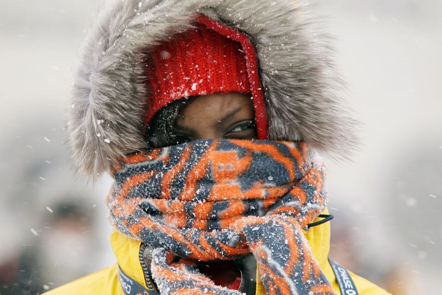 Chicago Bears fan Janise Ford arrives bundled up during a snowstorm at Soldier Field before an NFL football game between the Bears and the New England Patriots in Chicago on Sunday. (Associated Press)