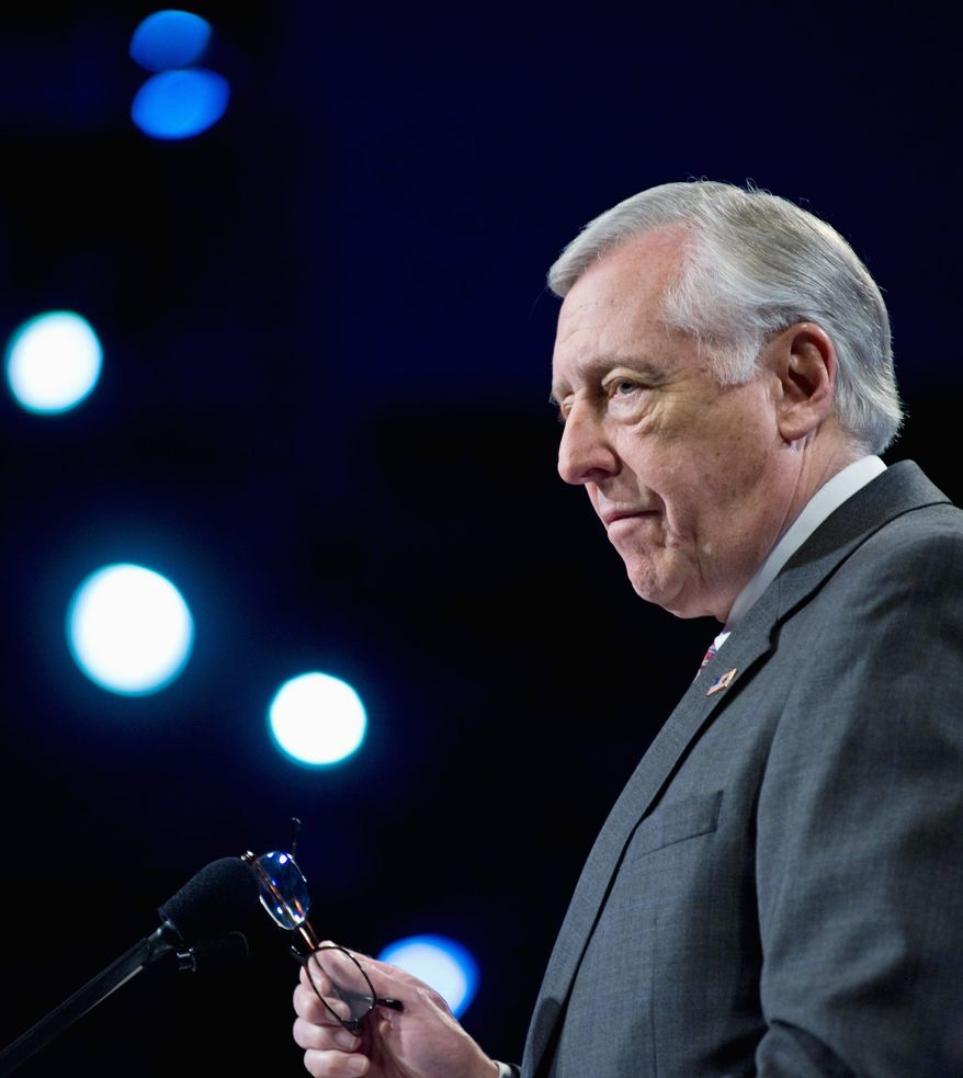 """""""What a republic needs is leaders who are willing to look further, even if it costs them,"""" House Majority Leader Steny H. Hoyer, Maryland Democrat, said yesterday about taking politically risky stands. (Associated Press)"""