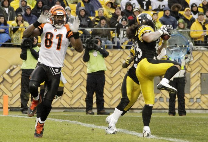 Pittsburgh Steelers safety Troy Polamalu (right) intercepts a pass intended for Cincinnati Bengals receiver Terrell Owens (81) in the fourth quarter of the Steelers' 23-7 home win on Sunday. (Associated Press)