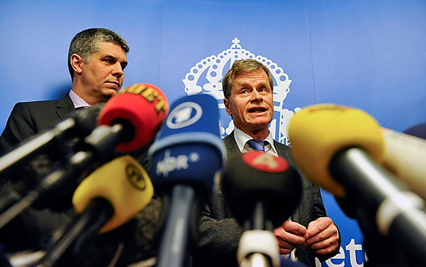 """Head of  Swedish Security Police, SAPO, security department Anders Thornberg, left, and Chief prosecutor Thomas Linstrand, right, talk to the media during a press conference Monday Dec. 13, 2010 in Stockholm. A Swedish prosecutor says police are """"98 percent"""" certain the Stockholm suicide bomber is 28-year-old Taimour Abdulwahab who is a Swedish citizen but also lived several years in Britain. Lindstrand Monday said Abdulwahab has his roots in the Middle East and has been a Swedish citizen since 1992. Lindstrand said Abdulwahab was also the registered owner of the car that exploded in Stockholm shortly before the suicide blast Saturday.     (AP Photo/Pontus Lundahl)"""