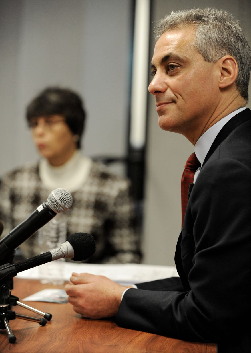 Rahm Emanuel testifies Tuesday before the Chicago Board of Election Commissioners at a hearing challenging his residency to keep him off the February mayoral ballot. More than two dozen objectors questioned the former White House chief of staff's eligibility. (Associated Press)