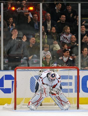Washington Capitals goalie Semyon Varlamov reacts after the New York Rangers scored a goal in the third period of their hockey game at Madison Square Garden, Sunday, Dec. 12, 2010, in New York. The Rangers won 7-0. (AP Photo/Henny Ray Abrams)