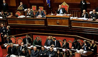 A view of the Italian Senate hall during a parliament debate, in Rome, Tuesday, Dec. 14, 2010. Prime Minister Silvio Berlusconi has survived back-back confidence votes in both houses of parliament. (AP Photo/Riccardo De Luca)