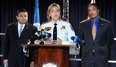 ASSOCIATED PRESS Washington Police Chief Cathy Lanier is joined Tuesday by ICE Special Agent John Torres (left) and U.S. Attorney Ronald C. Machen Jr. in announcing that a Mexican cartel's plan to sell large quantities of crystal methamphetamine in the District ended with a major drug seizure and nine indictments.