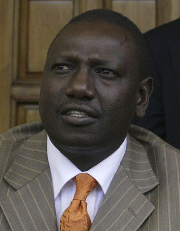 In this Jan 7, 2008, photo, Kenyan politician William Ruto, during a meeting in Narobi, Kenya. The prosecutor of the International Criminal Court has asked judges to charge six Kenyans, including the country's deputy prime minister, with crimes against humanity including murder, persecution and rape committed during post election violence in 2007-2008. (AP Photo/Sayyid Azim)