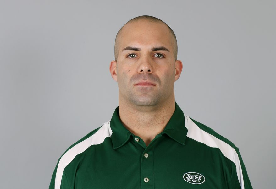 This photo taken in 2009 shows Sal Alosi of the New York Jets. Alosi, the Jets' strength and conditioning coach, said at a news conference at the practice facility Monday Dec. 13, 2010 that he had not yet received any discipline from the team or the NFL, nor had he personally spoken to the league. He also said he had not offered to resign. Alosi tripped a Miami Dolphins player on the sideline during a game Sunday. (AP Photo)