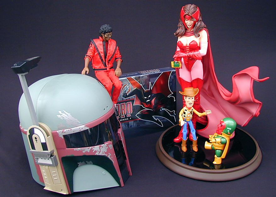 From left; Boba Fett Electronic Helmet, Michael Jackson's Thriller, Batman Beyond: The Complete Series, Woody and Scarlet Witch Comiquette