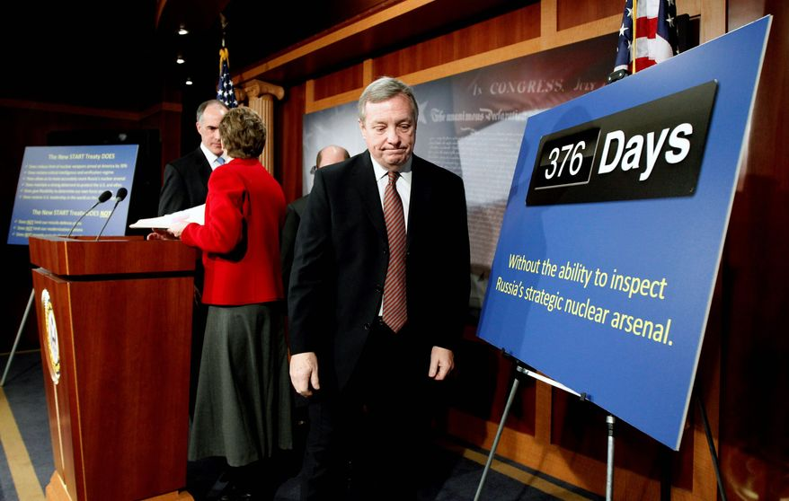 "ASSOCIATED PRESS Senate Majority Whip Richard Durbin, Illinois Democrat, referring to New START, argues that Republicans are ""delaying the ultimate passage of this critical treaty for the safety of the United States."""