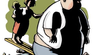 Illustration: Obesity by Alexander Hunter for The Washington Times