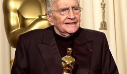 ** FILE ** Filmmaker Blake Edwards speaks after receiving an honorary Oscar from the Academy of Motion Picture Arts and Sciences during the 76th annual Academy Awards in Los Angeles in February 2002. (AP Photo/Mark J. Terrill, File)