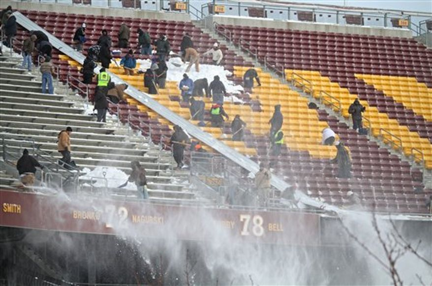 Workers remove snow from the upper seats at TCF Stadium in Minneapolis, Friday, Dec. 17, 2010. Monday night's NFL game between the Chicago Bears and Minnesota Vikings will be played at the stadium because of the Metrodome's snow-damaged roof. (AP Photo/The Star Tribune, Bruce Bisping)