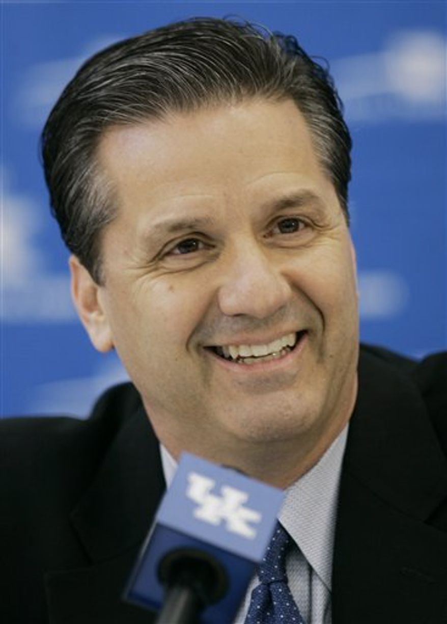 FILE - This April; 1, 2009, file photo shows John Calipari after being introduced as the new Kentucky basketball coach during a news conference in Lexington, Ky. Calipari has been nominated for the inaugural United Nations Nongovernment Organization Positive Peace Awards in the coach category. The group Celebrate Positive said Wednesday, Dec. 16, 2010,  that Calipari was nominated by a charity called Samaritan's Feet that provides shoes to the needy around the world. (AP Photo/Ed Reinke, File)