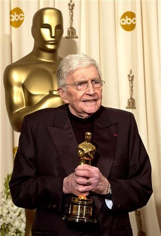 FILE - In this Feb. 29, 2004 file photo, filmmaker Blake Edwards speaks after receiving an honorary Oscar from the Academy of Motion Picture Arts and Sciences during the 76th annual Academy Awards in Los Angeles. (AP Photo/Mark J.