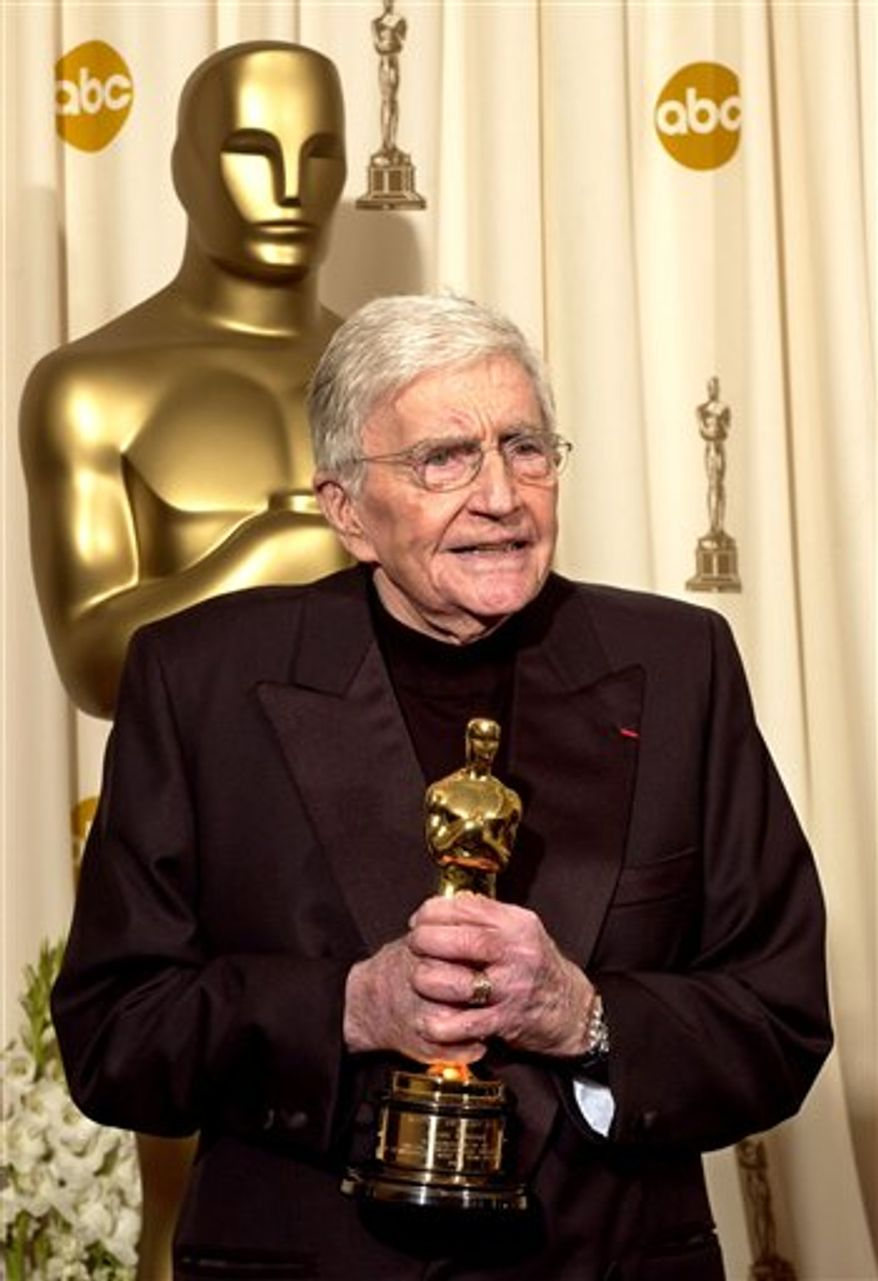 FILE - In this Feb. 29, 2004 file photo, filmmaker Blake Edwards speaks after receiving an honorary Oscar from the Academy of Motion Picture Arts and Sciences during the 76th annual Academy Awards in Los Angeles. (AP Photo/Mark J. Terrill, file)