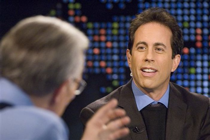 """** FILE ** In this Nov. 22, 2005, file photo released by CNN, Larry King interviews comedian Jerry Seinfeld during a live broadcast of """"Larry King Live"""" in New York. (AP Photo/CNN, Lorenzo Bevilaqua)"""