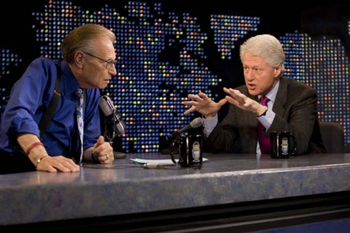 """FILE - In this April 19, 2007 file photo supplied by CNN, Larry King interviews former President Bill Clinton, right, on CNN's """"Larry King Live,"""" in New York. After 25 years of """"Larry King Live,"""" Larry King will hang up his suspenders with his last broadcast on Thursday, Dec. 16, 2010. (AP Photo/CNN, Jake A.Herrle)"""