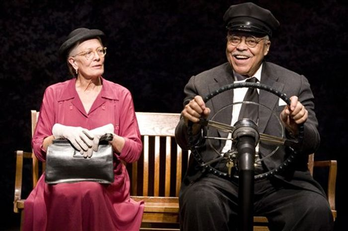 "Vanessa Redgrave and James Earl Jones in the Broadway premiere of Alfred Uhry's Pulitzer Prize winning ""Driving Miss Daisy"", now in performances at The Golden Theater (252 W. 45th Street).  (AP Photo/The O and M Co., Annabel Clark)"