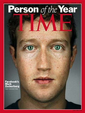 """FILE - In this Nov. 16, 2010 file photo, Facebook CEO Mark Zuckerberg smiles as he speaks at the Web 2.0 Summit in San Francisco. Zuckerberg has been named Time magazine's """"Person of the Year&am"""
