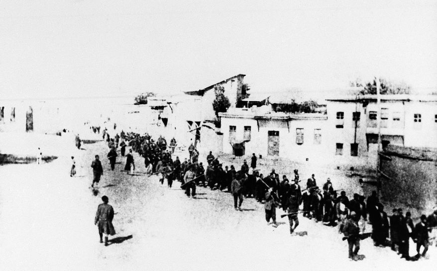 A scene in Turkey in 1915 when Armenians were marched long distances and said to have been massacred. The U.S. House of Representatives staffers said Friday, Dec. 17, 2010, that the House may vote next week on a resolution declaring the World War I-era killings of Armenians a genocide that could damage U.S. relations with critical ally Turkey. (AP Photo, File)
