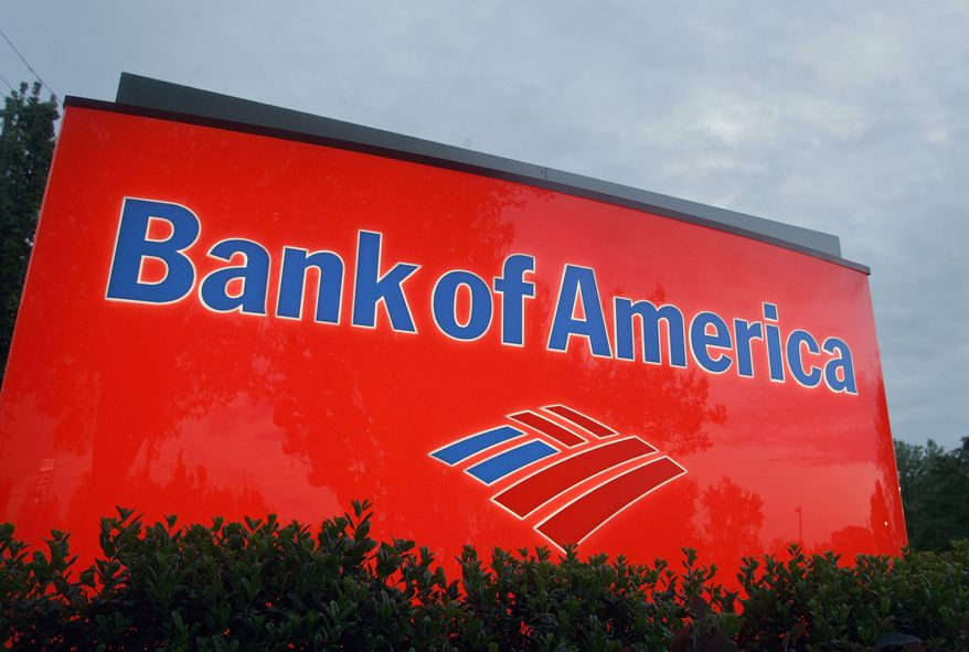 A sign advertises a Bank of America branch in Charlotte, N.C. (Associated Press)