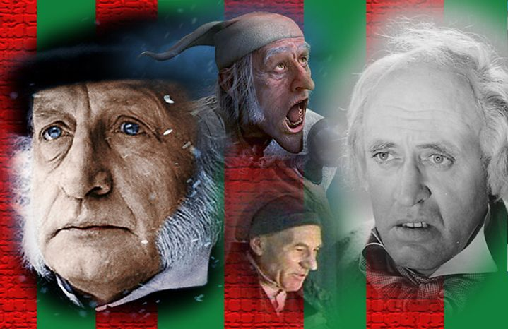 George C. Scott, Jim Carrey, Patrick Stewart and Alastair Sim as Ebenezer Scrooge.