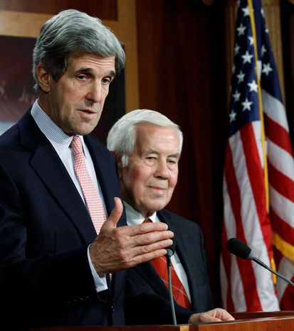PRO-START: Sens. John Kerry (left), Massachusetts Democrat and chairman of the Senate Foreign Relations Committee, and Richard G. Lugar, Indiana Republican and the panel's ranking member, favor ratification. (Associated Press)
