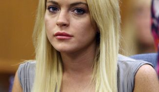 ** FILE ** In this July 20, 2010, file photo, Lindsay Lohan is shown in court in Beverly Hills, Calif. Lohan is being investigated for possible misdemeanor battery against a female staffer at a rehab facility where she is receiving treatment. Deputy Herlinda Valenzuela with the Riverside County Sheriff's Department says deputies responded to a Betty Ford Center facility on Dec. 12 for an incident involving Lohan. (AP Photo/Al Seib, file)