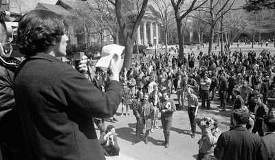 Associated Press A student leader speaks from steps of the Harvard administration building at Cambridge, Mass., in April 1969, as part of a protest against the Reserve Officers Training Corps program at the university. More than 40 years later, will ROTC now be welcomed back at Harvard?