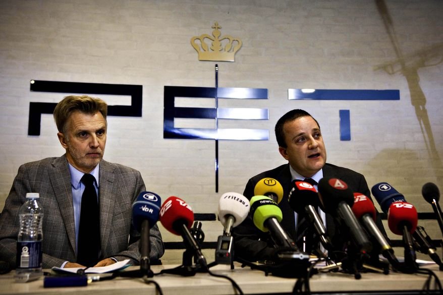 Jakob Scharf (right), Danish Security and Intelligence Service chief, and Anders Danielsson, the head of Sweden's security police, speak on Wednesday, Dec. 29, 2010, in Copenhagen at a press conference about the arrest of five suspects in an alleged plot to attack the newsroom of a paper that printed cartoons of the Prophet Mohammed. (AP Photo/Mathias Christensen, Polfoto)