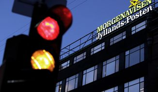 ** FILE ** The exterior of the building housing the Copenhagen office of the Jyllands-Posten newspaper is pictured in 2009. (AP Photo/Polfoto, Niels Hougaard, File)