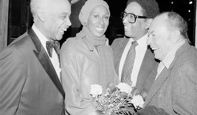"""FILE - In this Feb. 17, 1981 file photo, band leader Billy Taylor, center right, joins Mercer Ellington, left; dancer Judith Jamison, second left, and band leader Woody Herman at a special Broadway preview of """"Sophisticated Ladies,"""" in New York. Taylor, a jazz pianist and composer who became one of the music form's most ardent promoters through radio, television and the landmark Jazzmobile arts venture died Tuesday, Dec. 28, 2010 in New York. He was 89. (AP Photo/Nancy Kaye, File)"""