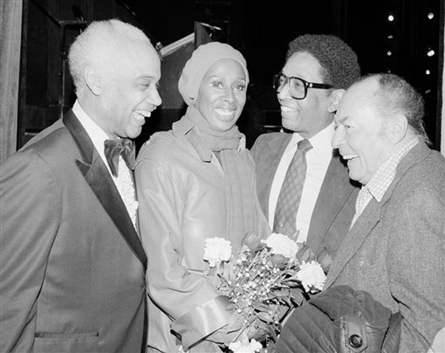 "FILE - In this Feb. 17, 1981 file photo, band leader Billy Taylor, center right, joins Mercer Ellington, left; dancer Judith Jamison, second left, and band leader Woody Herman at a special Broadway preview of ""Sophisticated Ladies,"" in New York. Taylor, a jazz pianist and composer who became one of the music form's most ardent promoters through radio, television and the landmark Jazzmobile arts venture died Tuesday, Dec. 28, 2010 in New York. He was 89. (AP Photo/Nancy Kaye, File)"