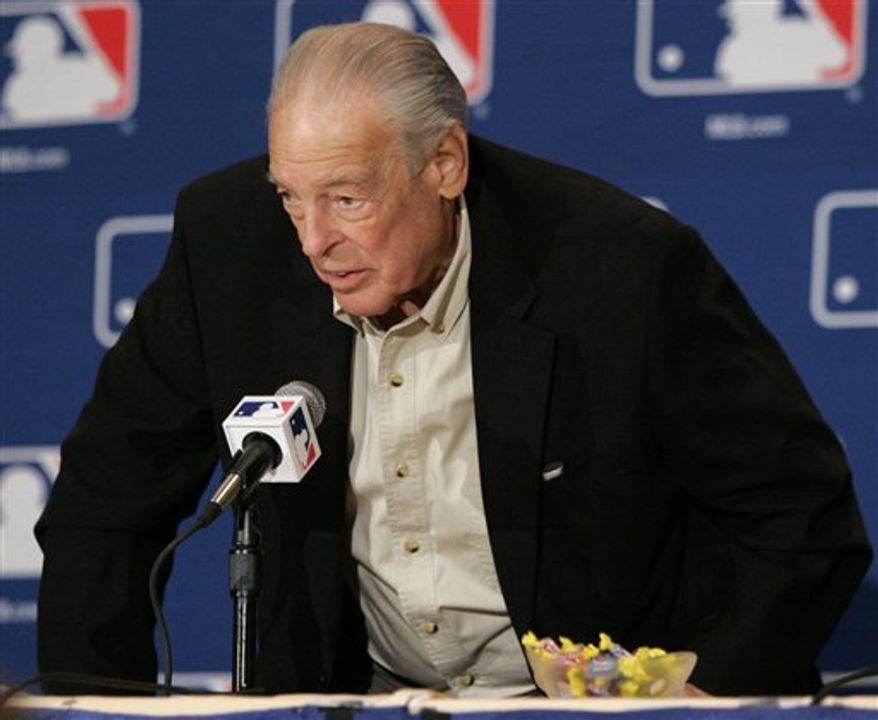 FILE-This Dec. 8, 2005 file photo shows Boston Red Sox special advisor/baseball operations Bill Lajoie responding to a question at a press conference. The former Detroit general manager who guided the team during its 1984 World Series championship season, has died. He was 76. (AP Photo/Tony Gutierrez,File)