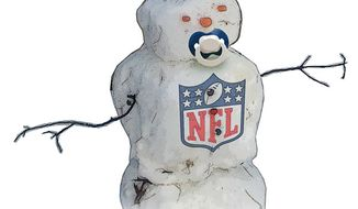 Illustration: NFL snowman by Greg Groesch for The Washington Times