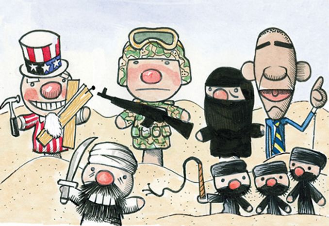 Illustration: Afghanistan by Alexander Hunter for The Washington Times