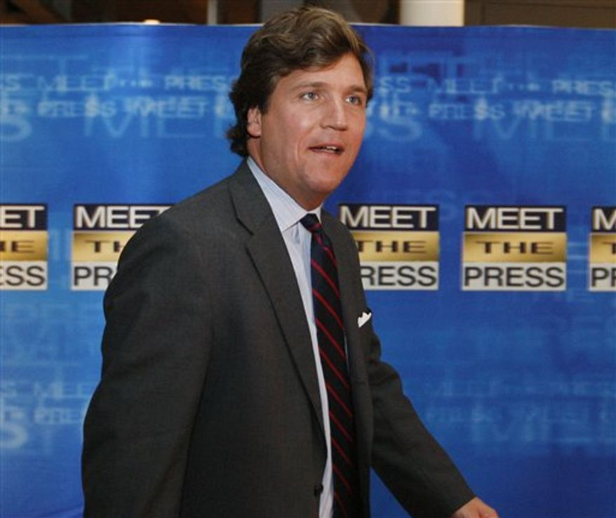 """FILE - In this Nov. 17, 2007 file photo, political commentator Tucker Carlson arrives for the 60th anniversary celebration of NBC's Meet the Press at the Newseum in Washington. Carlson gave the harshest critique of Michael Vick's past yet while guest hosting for Sean Hannity's show on Fox News Channel on Tuesday, Dec. 28, 2010, saying the Philadelphia Eagles quarterback """"should have been executed"""" for his gruesome dogfighting crimes. (AP Photo/Charles Dharapak, File)"""